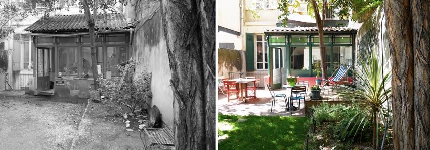 Am nagement d 39 un jardin d 39 une maison de ville par un for Architecte paysagiste montpellier