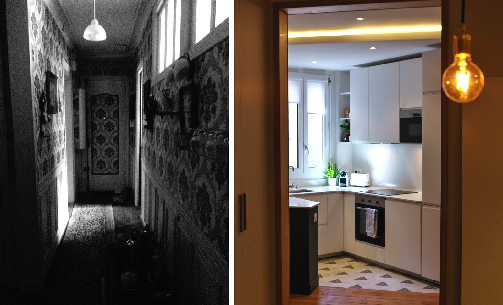 Cuisine aménagée en photo avant - après les travaux de rénovation