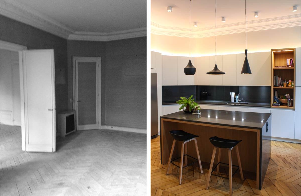 Cuisine américaine en photo avant - après suite à la rénovation réalisé par un architecte d'intérieur à Paris