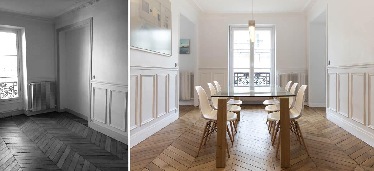 Salle à manger lumineuse dans un appartement parisien