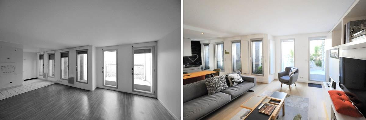 am nagement d 39 un appartement contemporain 4 pi ces 85m2. Black Bedroom Furniture Sets. Home Design Ideas